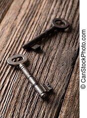 vieux, clés, deux, porté, conseil bois