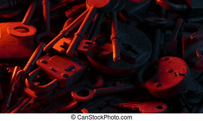 vieux, clés, serrures, brûler, lumière