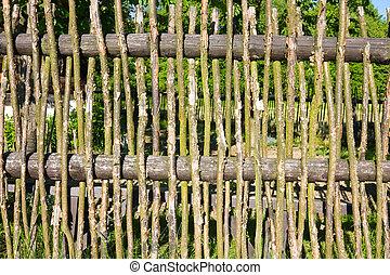 vieux, clôture bois, fond