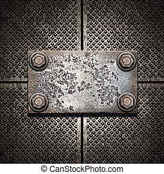 vieux, cliché métal, sur, métallique, mur