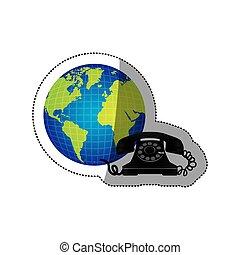 vieux, coloré, autocollant, téléphone, la terre, mondiale, silhouette