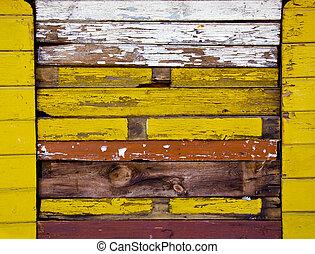 vieux, coloré, mur bois, fond, vieilli