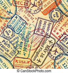 vieux, coloré, papier, modèle, voyage, seamless, tampons, visa, international, estampiller
