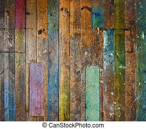 vieux, coloré, plancher, mur bois, ou