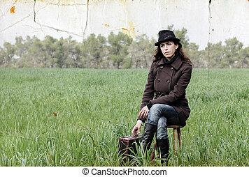 vieux, colorez photo, image, field., girl, style.