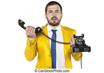 vieux, comment, téléphone, savoir, pas, homme affaires