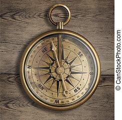 vieux, compas, haut, bois, table, fin, laiton