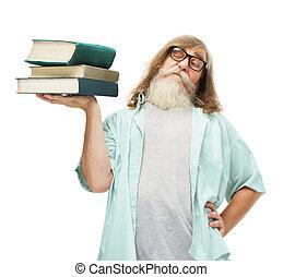 vieux, connaissance, livres, lunettes, personne agee, education, levage, homme
