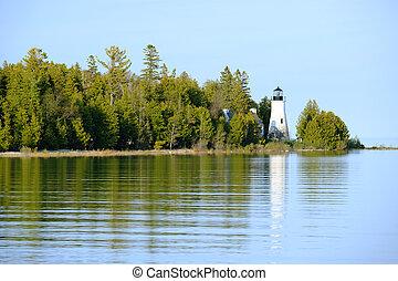 vieux, construit, 1840, presque, île, phare