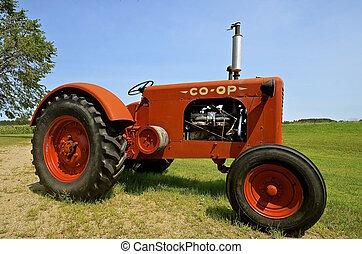 vieux, coopérative, tracteur
