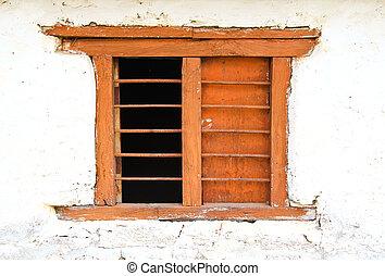 vieux, couleur, bois, fenêtre, mur blanc