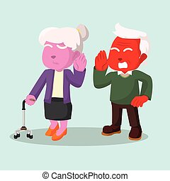 vieux, couple, dur, audition, conversation, homme