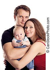 vieux, couple, jeune, two-month, fils, caucasien