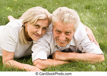 vieux, couple, parc