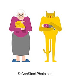 vieux, coups, pet., chat, grand-mère, grand-maman, contrary., mains, chaton, dame