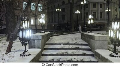 vieux, couvert, neige, escalier