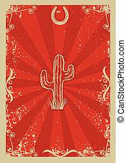 vieux, cow-boy, texte, papier, fond, cactus