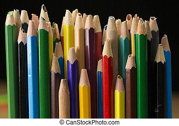 vieux, crayons, utilisé, crayon cassé, à, cassé net, crayon,...