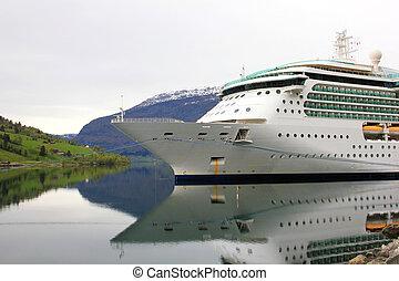 vieux, croisière bateau, norvège
