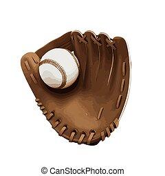 vieux, cuir, vendange, gant, vecteur, base-ball