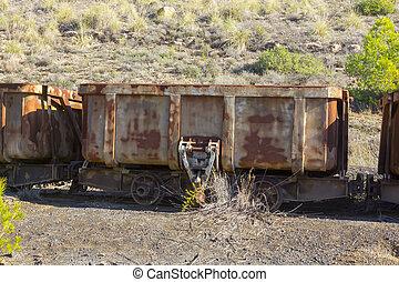 vieux, décharge, voitures, système, mine, charbon, automatique