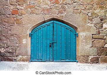 vieux, décoré, bois, porte, découpage
