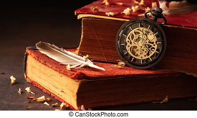 vieux, défaillance, montre, poche, enroulement, temps, books.