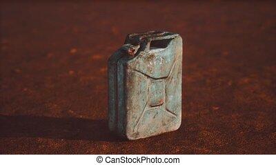 vieux, désert, carburant, boîte métallique, rouillé