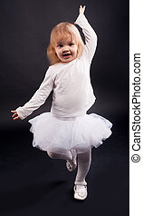 vieux, danse, années, 2, girl, blanc