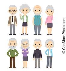 vieux, dessin animé, ensemble, gens