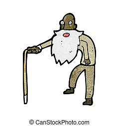 vieux, dessin animé, homme