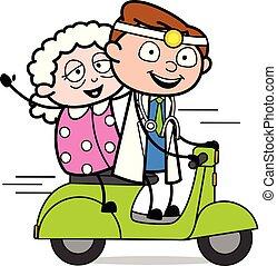 vieux, docteur, scooter, -, illustration, vecteur, équitation, professionnel, dame, dessin animé