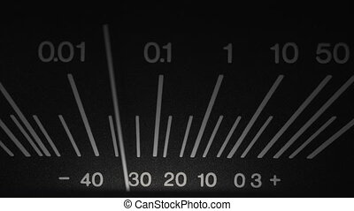 vieux, dof, haut., audio, vendange, volume, scale., vu, dispositif enregistrement, bande, studio., analogue, enregistreur, indicateur, meter., peu profond, fin, norme, bobine
