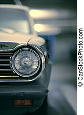 vieux, dof., voiture, peu profond, américain, close-up.