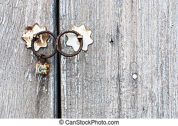 vieux, doorknocker, porte, chinois