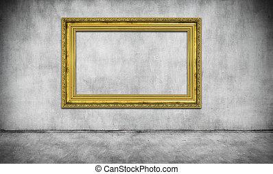 vieux, doré, cadre, sur, gris, mur