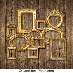 vieux, doré, cadre, sur, mur bois