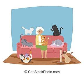 vieux, dormir, pillow., femme, grand-maman, sourire, vivant, dame, animaux familiers, balle, tenue, séance, room., chaton, bannière, illustration., sharpener., sofa, fil, chat, vecteur, griffe, jouer