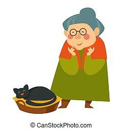 vieux, dormir, regarder, personne, femme, personne agee, chat