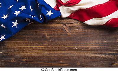 vieux, drapeau américain, sur, planche bois, fond