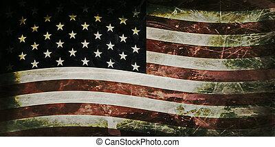 vieux, drapeau, grunge, usa