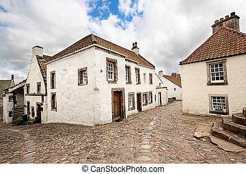 vieux, ecosse, culross, maisons, rue, historique