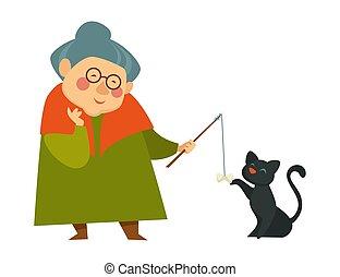 vieux, elle, chat, noir, grand-maman, sourire, dame, jouer