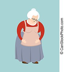 vieux, emoji., isolated., affligé, illustration, figure, grand-mère, vecteur, grand-maman, triste, dame