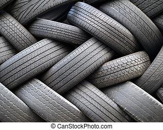 vieux, empilé, pneus