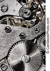 vieux, engrenage, mécanisme, horloge