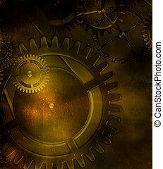vieux, engrenage, steampunk, mécanisme, papa, fond, vendange