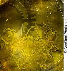 vieux, engrenage, vendange, mécanisme, fond, parchemin