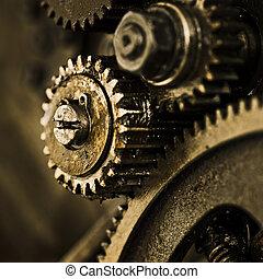 vieux, engrenages, mécanisme, vue