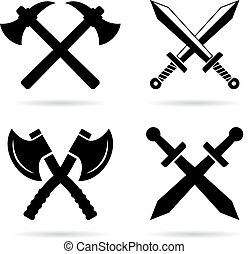 vieux, ensemble, emblème, arme